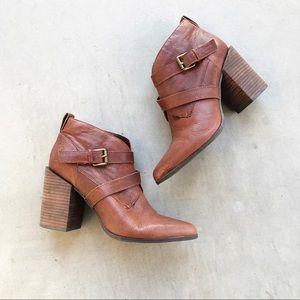 NINE WEST Kelela Cognac Leather Heeled Booties